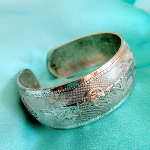 Tibetan Vintage Silver Bangle - Tashi Delek